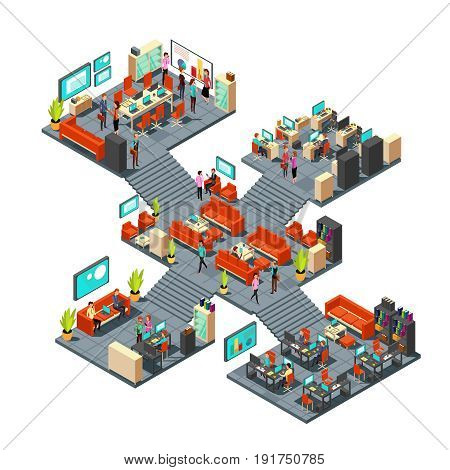 Isometric business offices with staff. 3d businessmen networking in office interior. Isometric room office with people, business interior with staff worker illustration