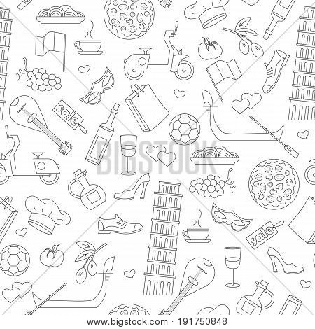 Seamless pattern on the theme of journey in the country of Italy simple contour icons on white background