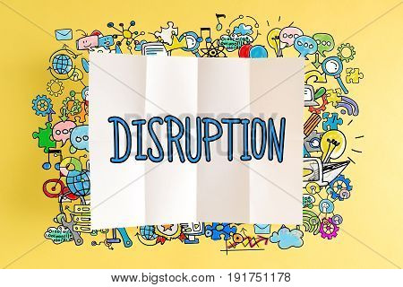 Disruption Text With Colorful Illustrations