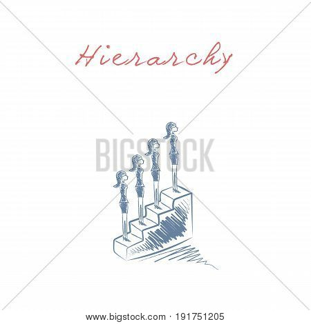 Business hierarchy and career promotion corporate ladder vector concept. Eps10 vector illustration.