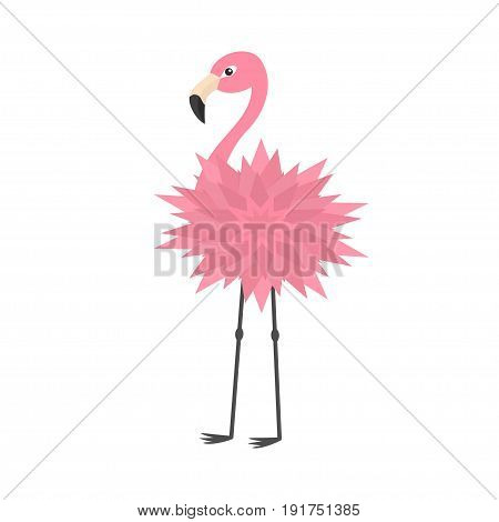 Pink flamingo. Flower body. Exotic tropical bird. Zoo animal collection. Cute cartoon character. Decoration element. Flat design. White background. Isolated. Vector illustration