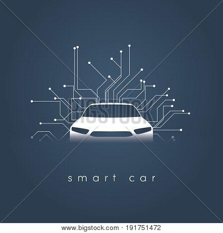 Smart or intelligent car vector concept. Futuristic automotive technology with autonomous driving, driverless cars. Eps10 vector illustration.
