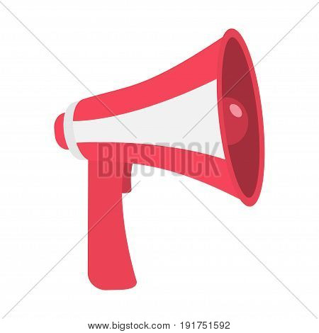 Megaphone speaker loudspeaker icon. Announcement sign symbol Flat design. Red color White background. Isolated. Vector illustration