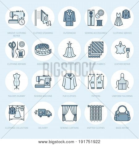 Clothing repair, alterations flat line icons set. Tailor store services - dressmaking, clothes steaming, curtains sewing. Linear colored signs set, logos for atelier.