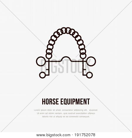 Horse pelham bit, polo flat line icons. Vector illustration of horses sport game, equestrian equipment.