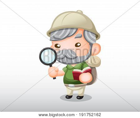 An old archaeologist with a magnifier illustration