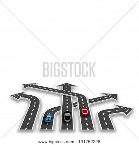 The road with white marking, three-dimensional in perspective in the form of arrows with a shadow. Cars. Abstract. Vector illustration