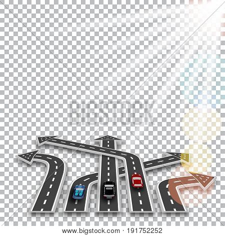 The road with a white marking, three-dimensional in perspective in the form of arrows with a shadow on the checker background. Cars. Sun rays. Abstract. Vector illustration
