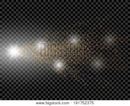 A golden wave of brilliant dots on a checkered background. Comet with a luminous tail. Vector illustration
