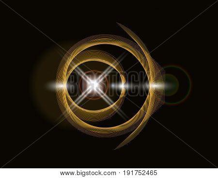 Golden shiny loop on a dark background. Bright Star. abstraction. Vector illustration