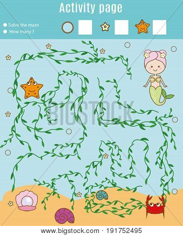 Activity page for kids. Educational game. Maze and counting game. Help mermaid find pearl. Fun for preschool years children. Fun for preschool years children. Learning mathematics