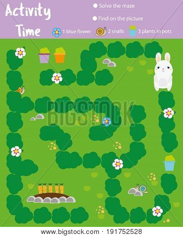 Activity page for kids. Educational game. Maze and find objects. Animals theme. Help rabbit go through the labyrinth and find carrots. Fun for preschool years children
