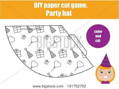 DIY children educational game. Do it yourself handmade creative tutorial for kids. Make a party hat. Printable Sheet with instruction and details. Coloring page