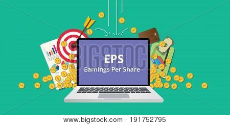 eps earning per share stock business illustration with laptop and gold money coin goals falling from sky to reflect get profit vector