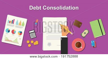debt consolidation business concept illustration terms with business man hand writing working on graph chart money paper work vector