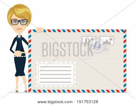 Woman in formal suit pointing to an envelope with a letter. Stock Vector illustration of a cartoon
