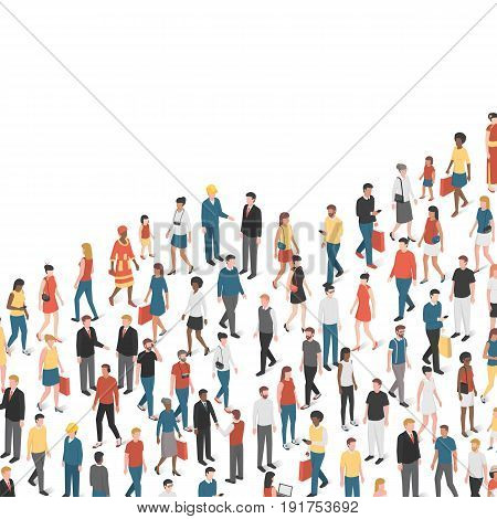Growing chart composed of people demographics and population concept