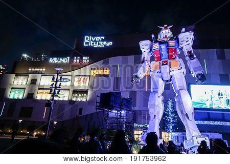 Gundam model at night in Odaiba taken in Tokyo Japan on 5 December 2016