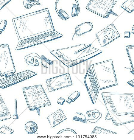 Different computer devices in hand drawn style. Vector seamless pattern with computer laptop and digital sketch electronic equipment illustration