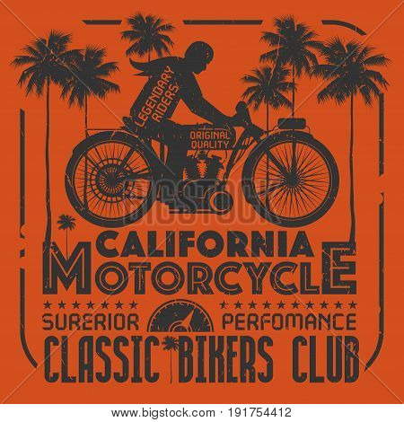 Biker riding a vintage motorcycle poster with text California Motorcycle Classic Bikers Club. Bikers event or festival emblem. Vector illustration