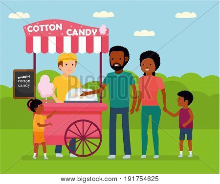 Family leisure. African family in the amusement Park. Family buys cotton candy. African American people. Vector illustration in a flat cartoon style