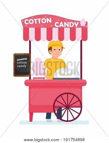 Fast food cart. Cotton candy cart with seller. Amusement Park. Vector illustration in a flat cartoon style