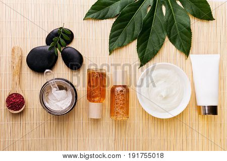 Spa Beauty Care Concept. Beautiful Various Products Spa Set for Care. Spa Products View from Above. Selective focus.