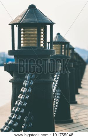 detail shot of bollards in row along riversideshot in DalianChina.