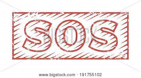 SOS grunge rubber stamp on white, vector illustration