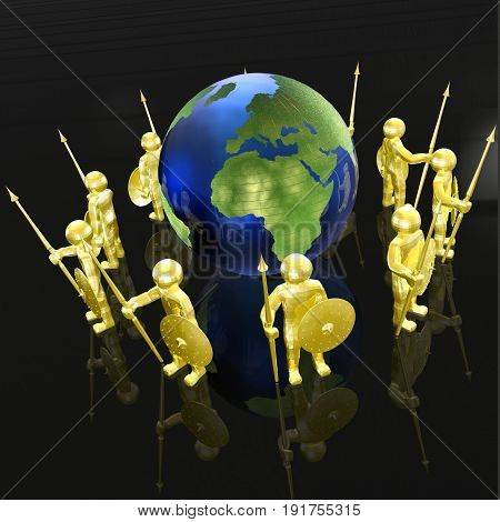 Yellow armed men with globe on black background 3D illustration.