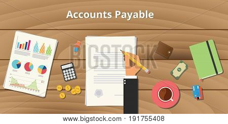 accounts payable illustration with businessman working on paper document with graph money chart paperwork on top of table vector