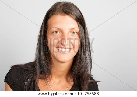 Smiling Cheerful Brunette Girl 30 Years Old