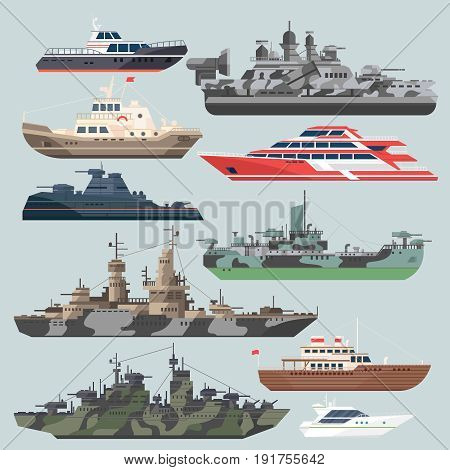Passenger ships and battleships. Submarine destroyer in the sea. Water boats vector illustrations in flat style. Battle boat ship and marine transport military