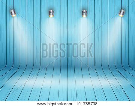 Curved Blue wooden background with spotlights. Presentation and mockup platform. Vector Illustration.
