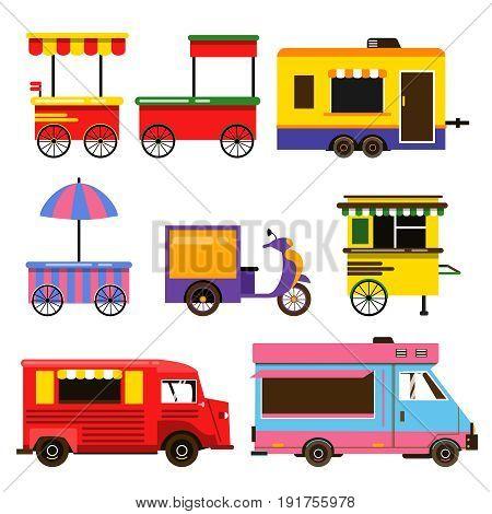 Different food trucks set. Vector illustration. Transport delivery food, trailer automobile kiosk