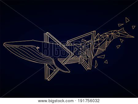 Graphic blue whale swiming through the triangular shapes. Giant sea and ocean creature in golden colors