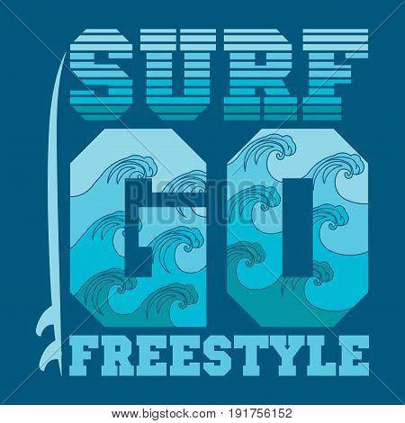t-shirts go surfing Miami Beach Florida surfing inscription typography graphic design emblem