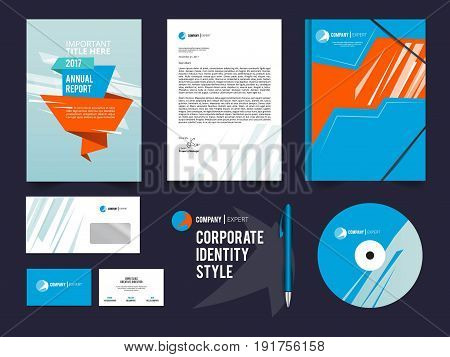 Different business identity elements set. Corporal style vector template. Corporate business company illustration