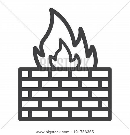 Firewall line icon, security and brick wall, vector graphics, a linear pattern on a white background, eps 10.