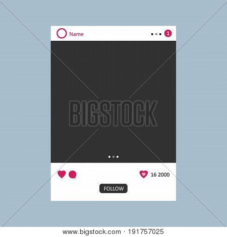 Empty Social network photo frame to use in your design. Illustrated vector