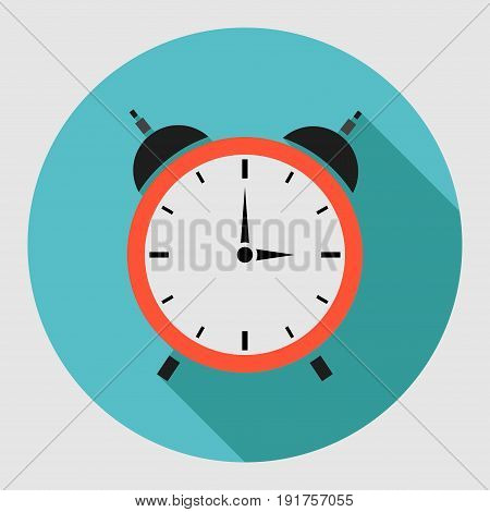 Alarm clock icon with long shadow. Flat design style.