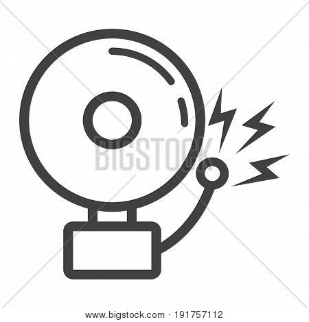 Fire alarm line icon, intruder alarm and security, vector graphics, a linear pattern on a white background, eps 10.