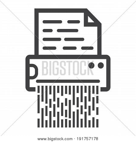 Document shredder line icon, destroy file and confidential, vector graphics, a linear pattern on a white background, eps 10.