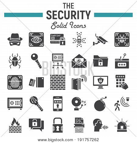 Security solid icon set, cyber protection symbols collection, safety vector sketches, logo illustrations, glyph pictograms package isolated on white background, eps 10.