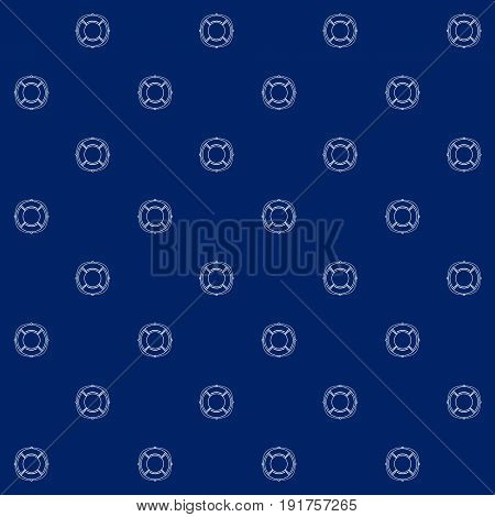 White Lifebuoy on Blue Background, Seamless Sea Travel Pattern, Line Style Design, Vector Illustration