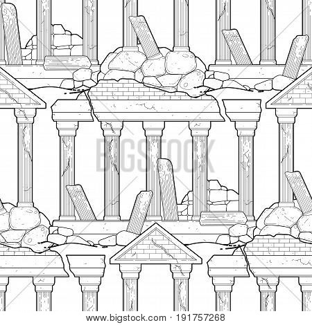 Graphic half-ruined architecture with column drawn in line art style. Vector seamless pattern. Coloring book page design for adults and kids.