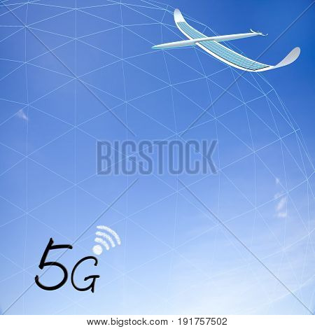 3D Rendering Of 5G Communication With Nice Background