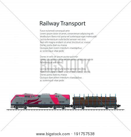 Brochure Locomotive with Railway Platform for Timber Transportation, Cargo Train Isolated on White Background and Text, Rail Freight, Poster Flyer Design, Vector Illustration