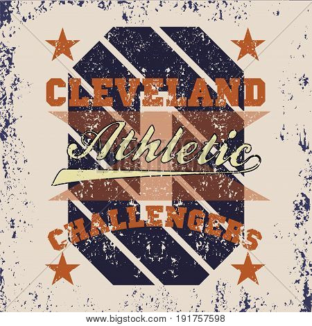 T-shirt cleveland athletics Typography Fashion challengers sport design