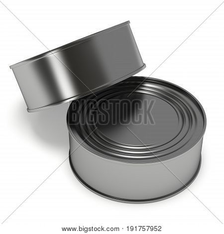 Aluminium cans. 3D render of metal canned food isolated on white.
